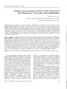 Effects of prior storage conditions on the infectivity of ... - Horizon