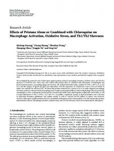 Effects of Pristane Alone or Combined with Chloroquine on ...