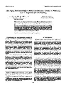 Effects of Processing Ease on Judgments of Text Learning - CiteSeerX