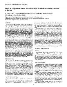 Effects of Progesterone on the Secondary Surge of Follicle ... - CiteSeerX