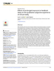 Effects of prolonged exposure to feedback delay on the ... - PLOS