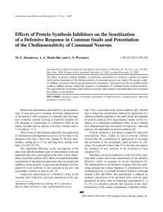 Effects of protein synthesis inhibitors on the sensitization of a ...
