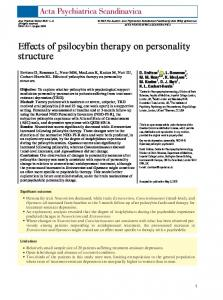 Effects of psilocybin therapy on personality ... - Wiley Online Library