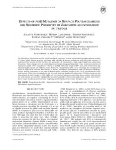 effects of pssb mutation on surface polysaccharides and symbiotic ...