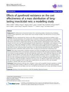 Effects of pyrethroid resistance on the cost ... - BioMedSearch