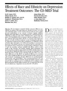 Effects of Race and Ethnicity on Depression ... - Psychiatric Services