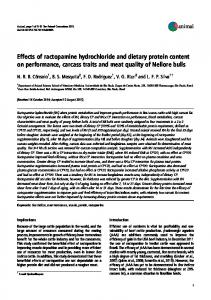 Effects of ractopamine hydrochloride and dietary protein ... - UQ eSpace