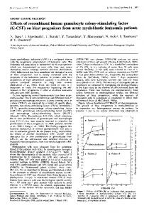 Effects of recombinant human granulocyte colony-stimulating factor