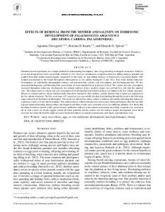 Effects of Removal from the Mother and Salinity on Embryonic ...