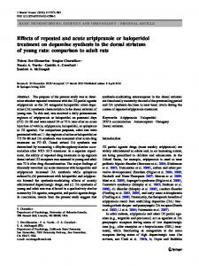 Effects of repeated and acute aripiprazole or haloperidol treatment on ...