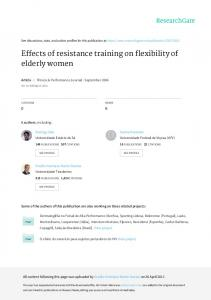 Effects of resistance training on flexibility of elderly ...