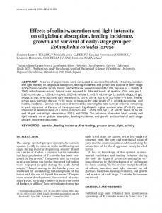 Effects of salinity, aeration and light intensity on oil