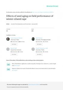 Effects of seed aging on field performance of winter ...