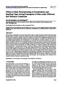 Effects of Seed Hydropriming on Germination and Seedling Vigor