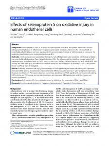 Effects of selenoprotein S on oxidative injury in ... - BioMedSearch