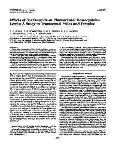 Effects of Sex Steroids on Plasma Total Homocysteine Levels: A Study ...