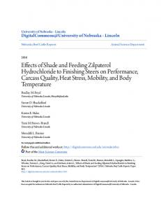 Effects of Shade and Feeding Zilpaterol Hydrochloride to Finishing ...