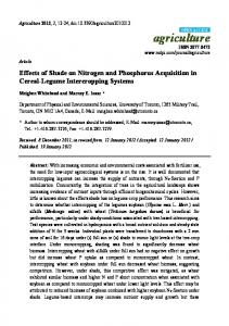 Effects of Shade on Nitrogen and Phosphorus Acquisition in ... - MDPI