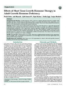 Effects of Short Term Growth Hormone Therapy in Adult Growth ...