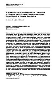 Effects of Short-term Supplementation of Clinoptilolite in Colostrum ...