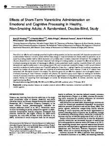 Effects of Short-Term Varenicline Administration on Emotional ... - Nature