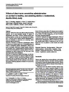 Effects of short-term varenicline administration on cortisol in healthy ...