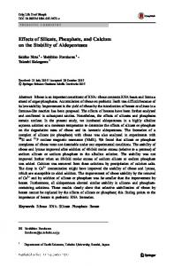 Effects of Silicate, Phosphate, and Calcium on the ...