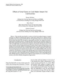 Effects of Small Dams on Cold Water Stream Fish ... - CiteSeerX