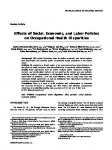 Effects of social, economic, and labor policies on occupational health ...