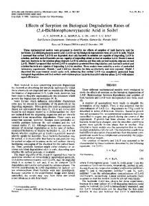 Effects of Sorption on Biological Degradation Rates of - Applied and