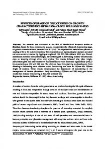 effects of stage of desuckering on growth characteristics of banana ...