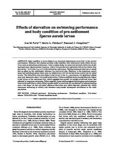 Effects of starvation on swimming performance and ... - Inter Research