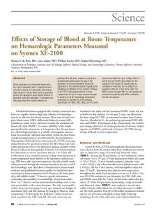 Effects of Storage of Blood at Room Temperature on Hematologic ...