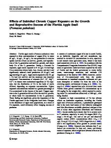 Effects of Sublethal Chronic Copper Exposure on ... - Semantic Scholar