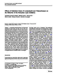 Effects of Sublethal Doses of Acetamiprid and Thiamethoxam on the ...