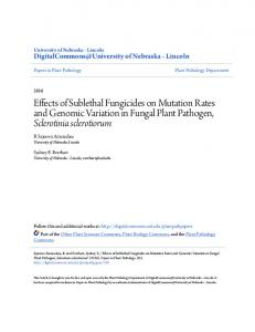 Effects of Sublethal Fungicides on Mutation Rates and Genomic ...