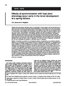 Effects of synchronization with host plant phenology occur early in the ...
