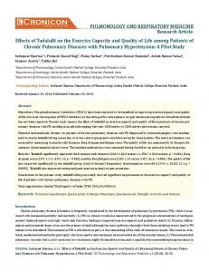 Effects of Tadalafil on the Exercise Capacity and Quality ... - ECronicon