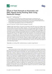Effects of Task Demands on Kinematics and EMG Signals ... - MDPI