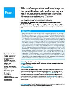 Effects of temperature and host stage on the ... - Semantic Scholar