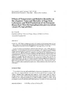 Effects of temperature and relative humidity on development times and ...