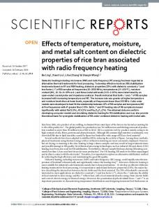 Effects of temperature, moisture, and metal salt content on dielectric