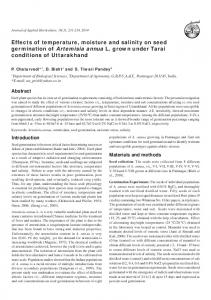 Effects of temperature, moisture and salinity on seed germination of ...