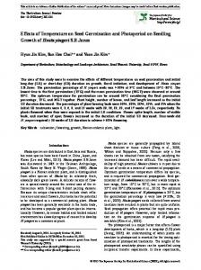 Effects of Temperature on Seed Germination and ... - J-Stage