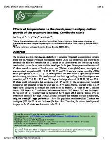 Effects of temperature on the development and ... - Semantic Scholar