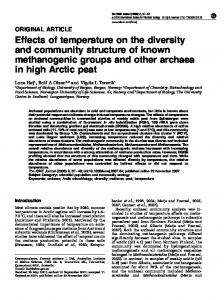 Effects of temperature on the diversity and community ... - CiteSeerX