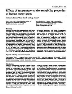 Effects of temperature on the excitability properties ... - Semantic Scholar