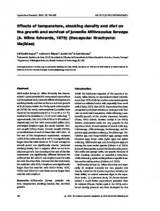 Effects of temperature, stocking density and diet ... - Wiley Online Library
