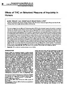 Effects of THC on Behavioral Measures of Impulsivity in ... - Nature