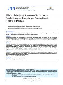 Effects of the Administration of Probiotics on Fecal Microbiota Diversity ...